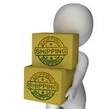 Mensajero de la carga de la demostración de las cajas de envío Fotografía de archivo