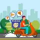 Mensajero Delivering Dinner al ejemplo de los suburbios stock de ilustración