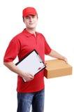 Mensajero en uniforme rojo Imagen de archivo libre de regalías