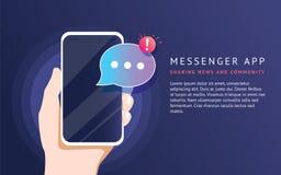 Mensajero móvil app para los mensajes que mandan un SMS a los amigos Ejemplo de neón plano del vector del concepto stock de ilustración