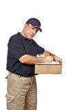 Mensajero que sostiene el rectángulo Imagen de archivo libre de regalías