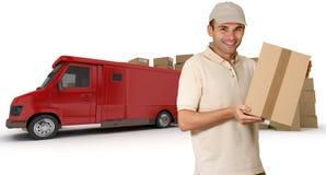 Mensajero y camión rojo Fotos de archivo