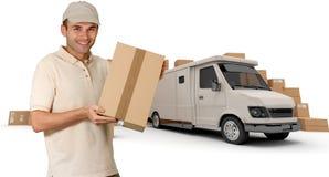 Mensajero y furgoneta blanca Fotografía de archivo libre de regalías