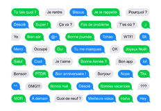 Mensajes cortos de las burbujas de SMS en francés ilustración del vector