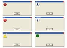 Mensajes de error Imagen de archivo
