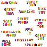 Mensajes de la retroalimentación positiva en modelo colorido Imagen de archivo