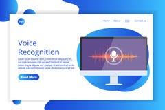 Mensajes de la voz, concepto isométrico del reconocimiento vocal Puede utilizar para la bandera de la web, aterrizando la plantil stock de ilustración