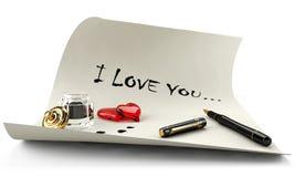 Mensajes del amor para la tarjeta del día de San Valentín del día Imagen de archivo libre de regalías