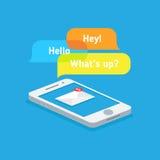 Mensajes en su teléfono stock de ilustración