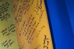 Mensajes en un tablero, camello justo, Pushkar de Pushkar, Aj Foto de archivo libre de regalías