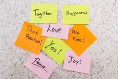 Mensajes positivos Imagen de archivo libre de regalías