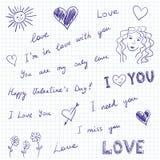 Mensajes y doodles del amor Imagen de archivo libre de regalías