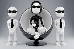 Mensch 3d auf futuristischem Stuhl Lizenzfreies Stockbild