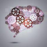Mensch Brain Shape Gears Business Background Lizenzfreie Stockbilder
