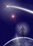 Mensch, der um um Universum bittet Lizenzfreie Stockbilder
