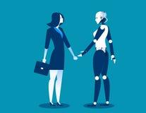 Mensch gegen Roboter, Geschäftsfrau, die mit Roboter steht Konzeptgeschäftsautomatisierungs-Zukunftillustration Vektorzeichentric Lizenzfreie Stockfotos