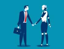Mensch gegen Roboter, Geschäftsmann, der mit Roboter steht Konzeptgeschäft Stockfoto