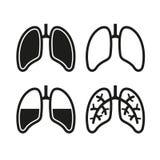Mensch Lung Icons Set Lizenzfreie Stockbilder
