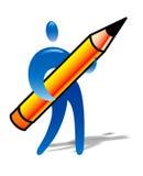 Mensch mit großem Bleistift Stockfotos
