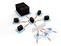 Mensch mit Laptop mit großem Server Netzfirewall. Bild 3D Stockfotos