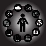 Mensch und Soziales Netz stock abbildung