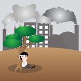 Mensch wünschen einen Baum, Konzeptabwehrerde Lizenzfreie Stockfotografie