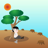 Mensch wünschen einen Baum, Konzeptabwehrerde Stockbild