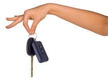 Menschen übergeben das Halten von Autoschlüsseln Stockbild