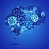 Menschen-Brain Shape Gears Blue Business-Hintergrund Stockbild