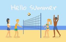 4 Menschen in den Badeanzügen, die Volleyball auf dem Strand spielen lizenzfreie abbildung