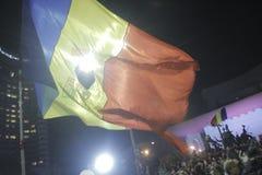 65000 Menschen protestieren in Bukarest bitten um Änderung der politischen Klasse Lizenzfreie Stockbilder
