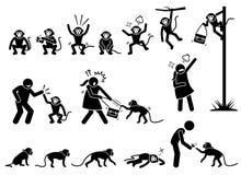 Menschen- und Affestockzahl Piktogramm stock abbildung