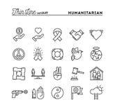 Menschenfreund, Frieden, Gerechtigkeit, Menschenrechte und mehr, dünne Linie I stock abbildung