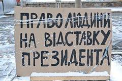Menschenrechte für Präsidentenrücktritt als Plakat, Stockbild