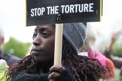 Menschenrechtsprotest Stockfoto