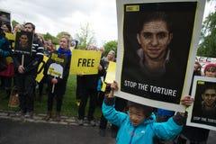 Menschenrechtsprotest Stockbild