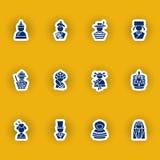 Menschenschattenbild-Ikonensatz lokalisiert auf Gelb Lizenzfreie Stockfotografie