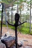 Menschlich ähnlicher Baumstumpf mit Handschuh am Lagerfeuer Stockbild