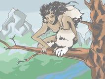 Menschlich-Tier, das in einem Baum sitzt Stockbilder