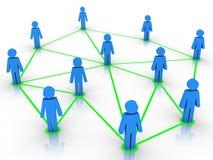 Menschliche Abbildungen angeschlossen als Netz Lizenzfreies Stockbild
