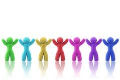 Menschliche Abbildungen des MehrfarbenPlasticine in einer Reihe Stockbild