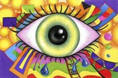 Menschliche Augen auf buntem abstraktem Hintergrund Stockfotografie