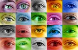 Menschliche Augen der multi Farbe lizenzfreies stockbild