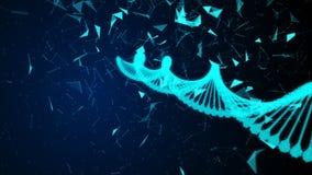 Menschliche digitale DNA liegt im digitalen Cyberspace mit den Zellen, die durch Partikel gebildet werden vektor abbildung