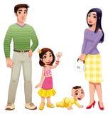 Menschliche Familie mit Mutter, Vater und Kindern. Stockbild