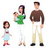 Menschliche Familie mit Mutter, Vater und Kindern. Stockfotos