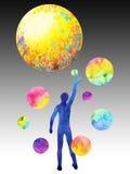 Menschliche Fangmondenergie, abstrakter Gedanke der Inspiration, Welt, Universum innerhalb Ihres Verstandes Stockfotografie