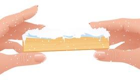 Menschliche Finger, die Weihnachtsfeld anhalten Lizenzfreies Stockfoto