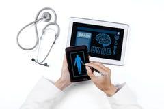 Menschliche Forschung mit Smartphone und Tablette Stockfotografie