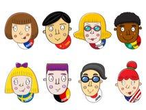 Menschliche Gesichter der verschiedenen Nationen Lizenzfreies Stockfoto